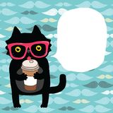 Cartoon doodle cat in hipster glasses with coffee Royalty Free Stock Photos
