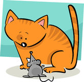 Cartoon doodle of cat and mouse Stock Images
