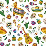 Cinco de Mayo celebration in Mexico. Cartoon doodle collection objects for Cinco de Mayo parade with pinata, maracas. Cartoon doodle collection objects for Cinco Stock Photo
