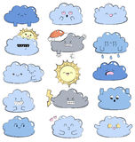 Cartoon doodle comic illustration with cute clouds. Different emotions. Collection of weather icons. Emoticons for site Stock Photo