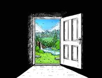 Cartoon Comic of Door to Nature Freedom. Cartoon doodle drawing illustration of open wooden door and beautiful mountain landscape behind as concept of travel or Stock Images