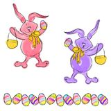 Cartoon Doodle Easter Bunny Eggs Stock Image