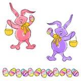 Cartoon Doodle Easter Bunny Eggs royalty free illustration