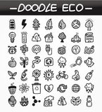 Cartoon doodle eco icon set. Drawing Royalty Free Stock Images