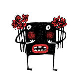 Cartoon Doodle Fun Amazing Whimsical Scribble Sketchy Monster Animal with Bunch of Flowers Royalty Free Stock Images