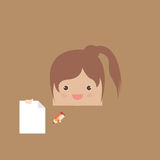 Cartoon doodle girl rectangle of business,  illustration Royalty Free Stock Photo