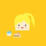 Cartoon doodle girl rectangle like cake,  illustration Royalty Free Stock Images