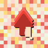Cartoon doodle Hand in arrow up of business 8-bit style Royalty Free Stock Photography