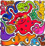 Cartoon Doodle Jigsaw Germs. Hand drawn doodle cartoon germs and microbes that mold around each other Stock Image