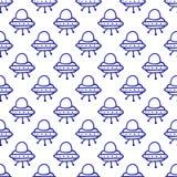 Cartoon doodle kawaii style alien space ship seamless vector pattern Royalty Free Stock Photos