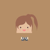 Cartoon doodle lady rectangle play games,  illustration Stock Photography
