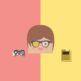 Cartoon doodle man rectangle play games and love reading,  Royalty Free Stock Photo