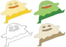 Cartoon doodle monster hand draw funny happy set dance color vector illustration