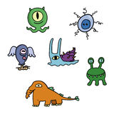 Cartoon doodle monsters set Royalty Free Stock Images