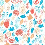 Cartoon doodle Seamless pattern background with fruits on white. Vector doodle strawberry, floral elements.  Stock Images