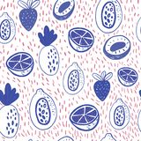 Cartoon doodle Seamless pattern background with fruits on white. Vector doodle strawberry, floral elements.  Stock Photos