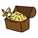 Cartoon doodle of a treasure chest. A creative illustrated cartoon doodle of a treasure chest royalty free illustration