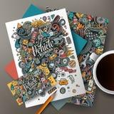 Cartoon doodles Auto corporate identity set. Cartoon cute colorful vector hand drawn doodles Auto corporate identity set. Templates design of business card royalty free illustration
