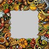 Cartoon cute doodles hand drawn Autumn frame design Royalty Free Stock Photos