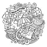 Cartoon doodles Autumn illustration. All items are separate. Royalty Free Stock Images