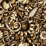 Cartoon doodles Autumn seamless pattern Royalty Free Stock Image