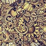 Cartoon doodles Autumn seamless pattern Stock Images