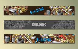 Cartoon doodles Building set of banners with lot objects and tools stock illustration
