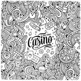 Cartoon doodles casino frame design Stock Image
