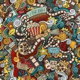 Cartoon doodles cinema seamless pattern Stock Image
