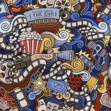 Cartoon doodles cinema seamless pattern Stock Photography