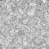 Cartoon doodles cinema seamless pattern Royalty Free Stock Photos
