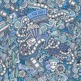 Cartoon doodles cinema seamless pattern Stock Photos