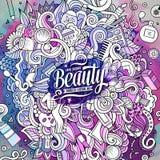 Cartoon doodles cosmetics frame design Stock Image