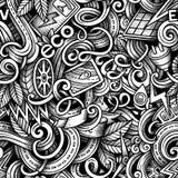 Cartoon doodles Electric cars season seamless pattern Stock Photography