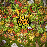 Cartoon doodles fast food frame design Royalty Free Stock Photo