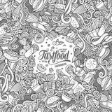 Cartoon doodles fast food frame design Stock Image