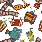 Cartoon  doodles hand drawn cinema seamless pattern Royalty Free Stock Images