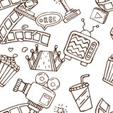 Cartoon  doodles hand drawn cinema seamless pattern Stock Photography