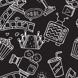 Cartoon  doodles hand drawn cinema seamless pattern Stock Images