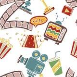Cartoon  doodles hand drawn cinema seamless pattern Stock Photo