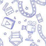 Cartoon  doodles hand drawn cinema seamless pattern Stock Image