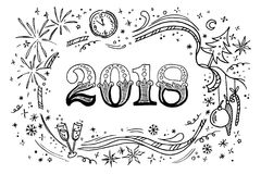 Cartoon vector doodles 2018 hand drawn new year illustration. Isolated template. Cartoon doodles hand drawn 2018 new year illustration. Isolated vector template Royalty Free Stock Photo