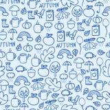 Cartoon doodles hand drawn style seamless pattern autumn design wallpaper vector illustration. Stock Image