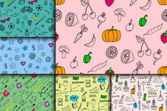 Cartoon doodles hand drawn style seamless pattern summer design wallpaper vector illustration. Stock Image