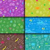 Cartoon doodles hand drawn style seamless pattern summer design wallpaper vector illustration. Royalty Free Stock Photo