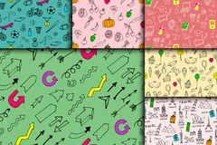 Cartoon doodles hand drawn style seamless pattern summer design wallpaper vector illustration. Royalty Free Stock Photography
