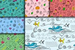 Cartoon doodles hand drawn style seamless pattern summer design wallpaper vector illustration. Stock Photo