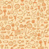 Cartoon doodles hand drawn style seamless pattern summer design wallpaper vector illustration. Stock Photo