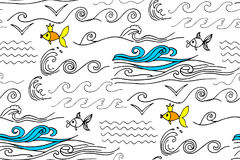 Cartoon doodles hand drawn style seamless pattern summer design wallpaper vector illustration. Royalty Free Stock Images