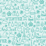 Cartoon doodles hand drawn style seamless pattern winter design wallpaper vector illustration. Royalty Free Illustration
